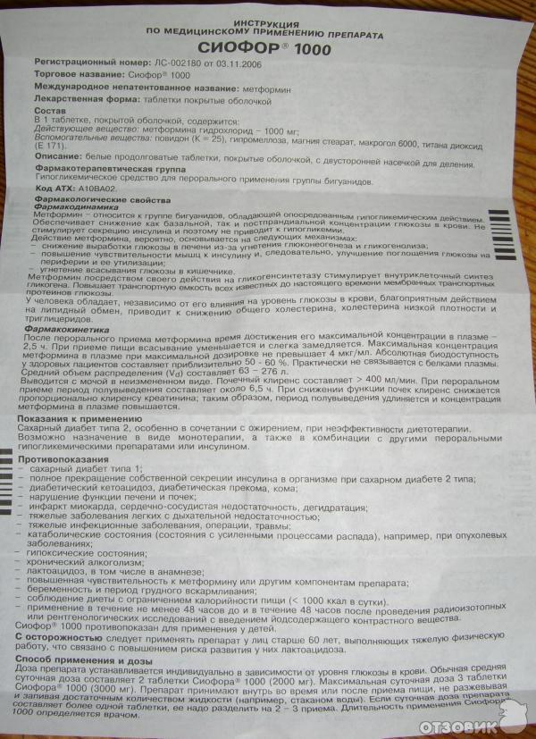 Сиофор таблетки инструкция по применению