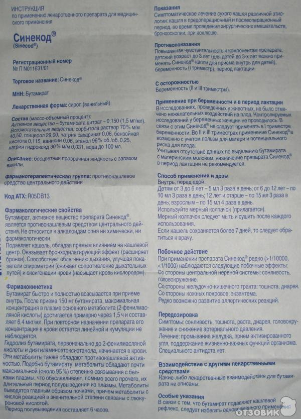 Синекод – инструкция по применению (для детей, взрослым).