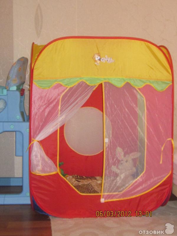 Кстати, складывать детскую палатку очень быстро и легко...  Детская игровая палатка была подарена родственниками...