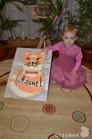 """Рецепт торта  """"Кот """" - Бисквит с персиковым вкусом, масляным кремом и..."""