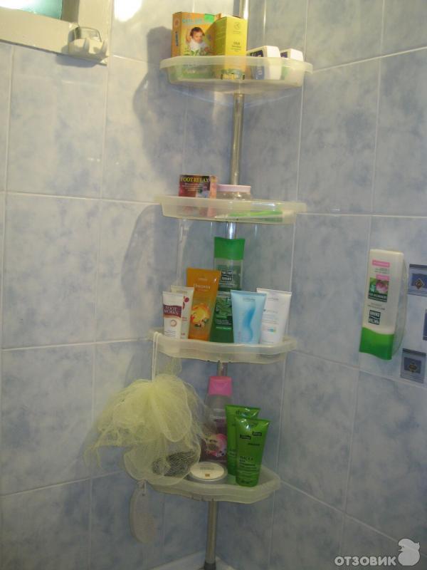 Полка угловая распорная для ванны