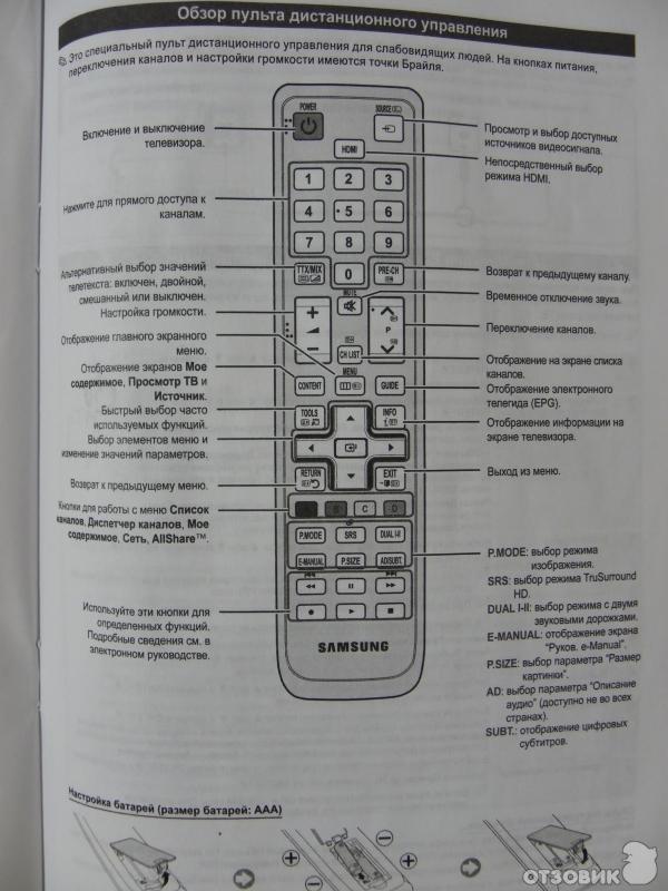 Инструкцию к телевизору samsung ue40d5000