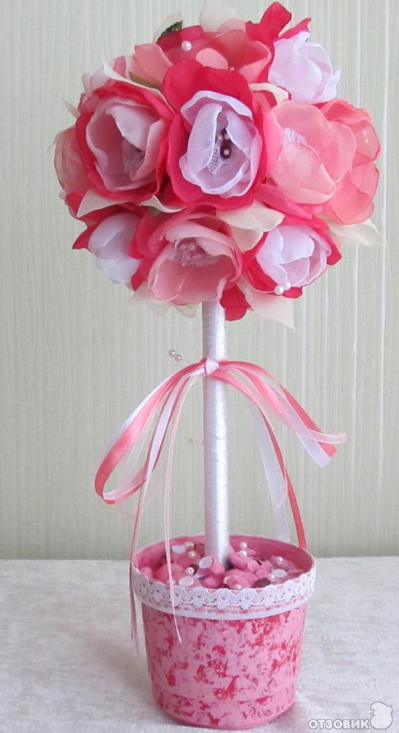 Цветы из ткани на топиарий