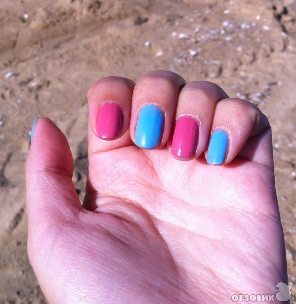 Сочетание розового лака для ногтей